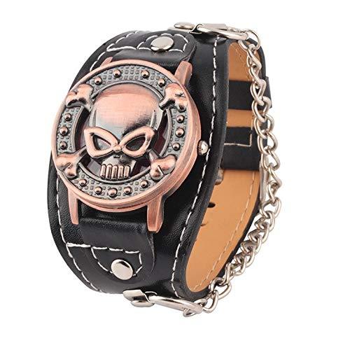 Relojes de Cuarzo, Cubierta de Calavera Reloj de Cuarzo Reloj de Pulsera de Cuero para Hombres Reloj de Pulsera para Hombres Motero de Metal Individualidad Vitalidad Moda Casual