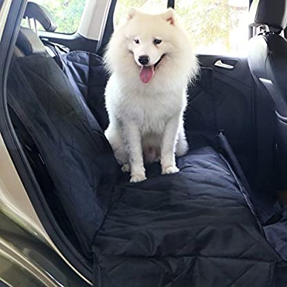 travel inspira Dog Seat Cover for Pets Pet Hammock for Cars SUV Trucks Waterproof Nonslip with Car Seat Belt & Side… 1