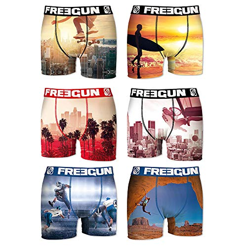 FREEGUN Lot de 6 Boxers Enfant (10/12 Ans, Photo Sport Pack)