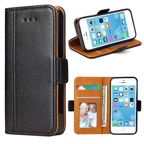 Bozon iPhone 5S Hülle, iPhone SE Hülle, iPhone 5 Hülle, Leder Tasche Handyhülle Flip Wallet Schutzhülle für iPhone 5/ SE/ 5S mit Ständer und Kartenfächer/Magnetic Closure (Schwarz)