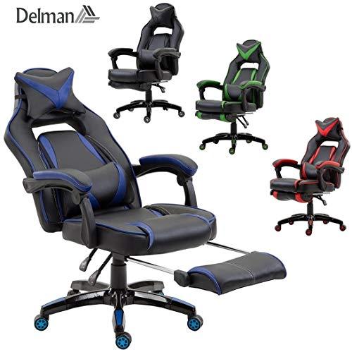 Delman XXL Racing Bürostuhl Schreibtischstuhl Gaming Chair Drehstuhl Höhenverstellbar mit Fußstütze Fußablage mit Armlehnen Chefsessel Große Sitzfläche Dicke Polsterung 11 cm RS0019BU