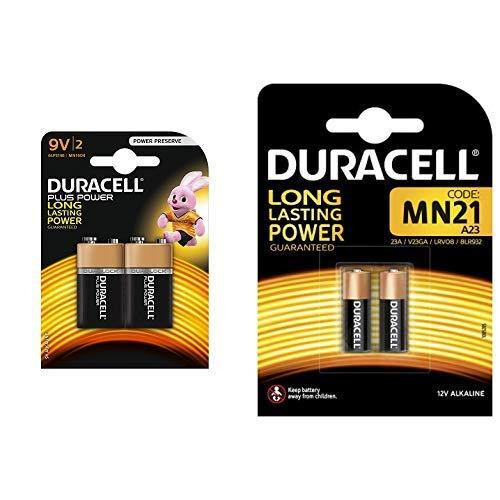 Duracell Plus Power Typ 9V Alkaline Batterien, 2er Pack & kaline MN21 Batterie 12V, 2er-Packung entwickelt für die Verwendung in Fernbedienungen, Funktürglocken und Sicherheitssystemen 9v Volt Duracell Batterien