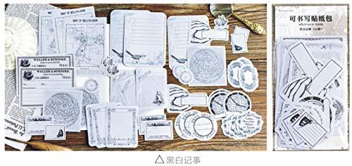 Kann Aufkleber spally Vergangenheit Papier schreiben kann die Hand Konto Dekoration Aufkleber Computer Koffer Notebook 2-11cm90pcs erinnern Schwarz-Weiß-Noten (Noten Bücher, 3-5 Halloween)