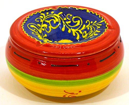 Art Escudellers CENICERO Agua en Ceramica Hecho y Pintado a Mano con decoración Barcelona. 12,5 cm x 12,5 cm x 6,5cm
