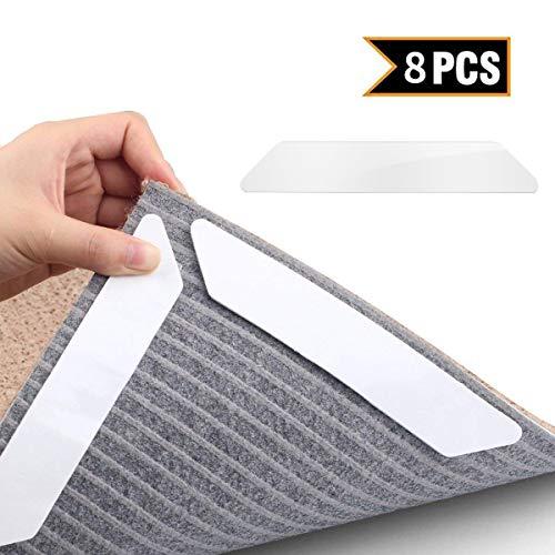 MojiDecor Antirutschmatte für Teppich, Teppichgreifer waschbar wiederverwendbar Teppichunterlage Teppichstopper, Starke Klebrigkeit und leicht zu entfernen-idealer Rutschschutz für Teppich, 8 Stück