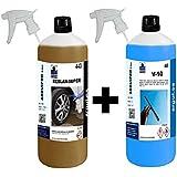 LIMPIA LLANTAS SIN ÁCIDO PROFESIONAL, SIN FROTAR + LIMPIA CRISTALES Y SALPICADERO AUTOMÓVIL.. REBLAN SUPER 1 Litro + V10 Professional Car Wash.