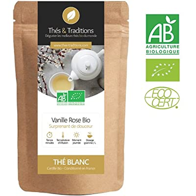 Thé blanc Bio Vanille Rose | Sachet 100g vrac | ? Certifié Agriculture biologique ?