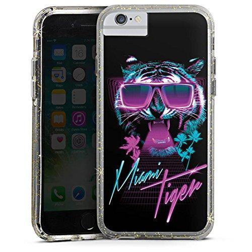 Apple iPhone X Bumper Hülle Bumper Case Glitzer Hülle Miami Tiger Sonnenbrille Bumper Case Glitzer gold