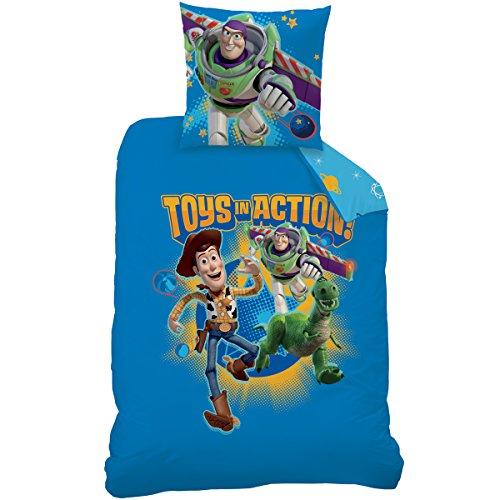 CTI 042820Toy Story Game Bettbezug 140x 200cm + 1Kissenbezug 63x 63cm Baumwolle/Polyester Blau 1 Stück Toy Story Bettwäsche Set