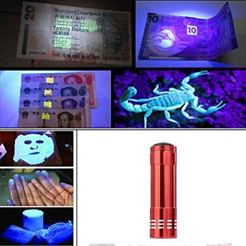 Siswong UV LED Handlampe Taschenlampe, Ultraviolett Multifunktional falsche Papiergeld, Haustiere Eingetrocknete Urinflecken, gebrochene Glaswaren, Tatort Detektor