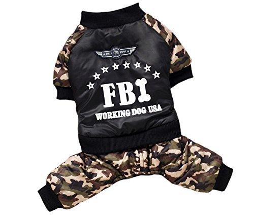 YARBAR Pet FBI Quattro Gambe cappotto del cotone imbottito Dog Costume Suit Abbigliamento