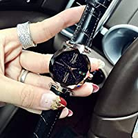 NICEWATCH Ladies Watch, Rome Dial Leather Strap Watch, Classic Durable Star Watch, Lady Quartz Watch, Rose Gold Shell Black Leather