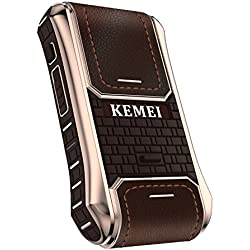 Kemei 2en 1Homme rasoir électrique Housse en cuir de rasoir électrique sans fil rechargeable rasoir Sabre vintage Km-5300Marron