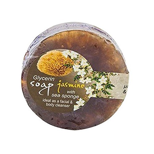 Glycérine Savon aux huiles essentielles et éponge de mer/Jasmine/100 gr Glycérine Soap with sea Sponge Jasmine