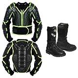 Rüstung kostüm - Kinder Motorrad Körperschutz Mit Motorradschuhen Motorradstiefeln Lederstiefel Motorrad Gear Armors Motocross Bikes Schutz CE-geprüfte Jacke - Jahr 14