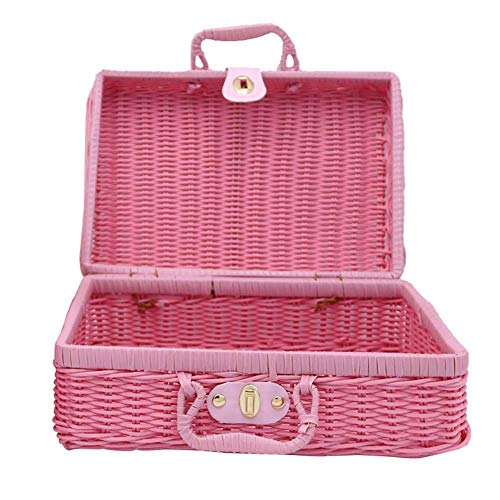 Bledyi - Maleta Retro de Mimbre marrón, Cesta de Picnic de ratán, Maleta de Viaje para Exteriores, cestas de Almacenamiento, Color Rosa, Rosa (Rosa) - L46KRAPUSK