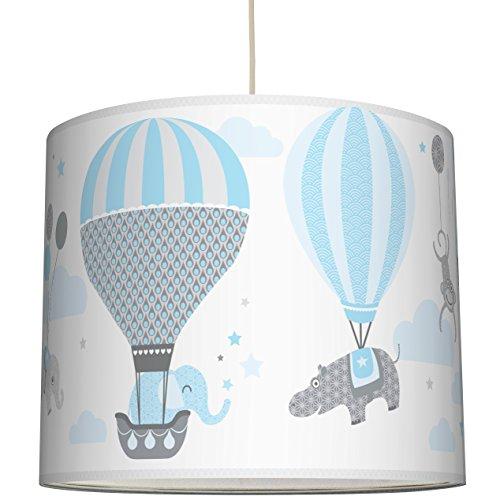 anna wand Lampenschirm HOT AIR BALLOONS HELLBLAU/GRAU – Schirm für Kinder / Baby Lampe mit Tieren in Heißluftballons versch. Farben –...