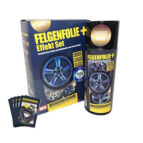 mibenco 71000005 FELGENFOLIE+ Effekt Set, 2 x 400 ml, Desert Sand - Flüssiggummi Spray / Sprühfolie - Neue Chamäleon-Flip-Flop-Farbe und Schutz zum Felgen lackieren