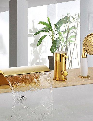 KISSRAIN® Antique Ti-PVD tres agujeros de una manija cascada grifo de la bañera con ducha de mano