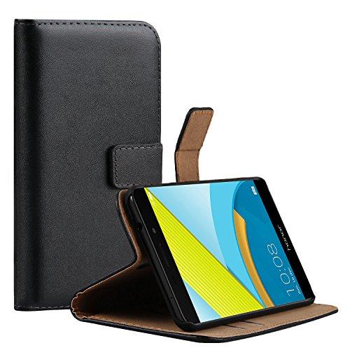 Ambaiyi Flip Echt Ledertasche Handyhülle Brieftasche Hülle Schutzhülle für Huawei Honor 6C Pro, Schwarz