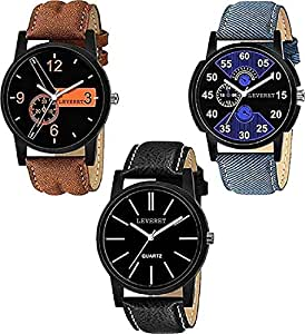 LEVERET Analogue Men & Women's Watch (Black Dial Assorted Colored Strap) (Pack of 3)