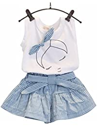 Hot!!! for 2-7 Years Old Girls Clothes Set, Kids Girls Cute Bow Girl Pattern Shirt Top Grid Shorts Set Clothing