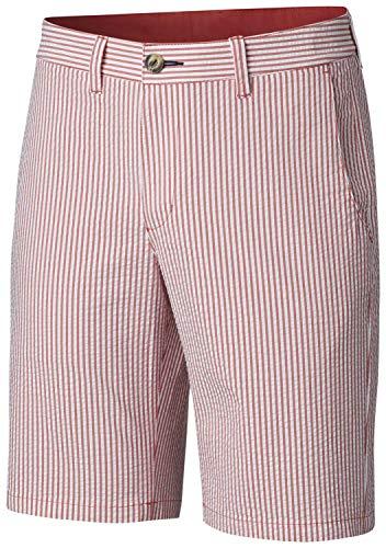 Columbia Men's Super Harbor Side Chino Shorts, Size 38 x 6, Sunset Red Seersucker Stripe -
