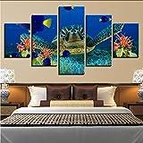 hjcmhjc Kein Rahmen Leinwand Hd Drucke Poster Wohnkultur Wandkunst 5 Stück Tiefsee-Schildkröten Korallenfische Seascape S Goldfish Pictures