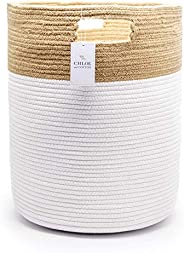 Chloe and Cotton Extra Large Tall Woven Rope Storage Basket 19 x 16 inch Jute White Handles | Decorative Laund