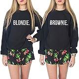 918coshiert Blondie & Brownie Partner Look Best Friend Pullover Sweatshirt Pärchen Pullover Langarm Pulli(S Schwarz-Brownie)