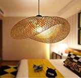 Lampadario in bambù a forma di vite arte a forma di cappello intrecciato a mano in legno massello lampadario soggiorno camera da letto sala da pranzo