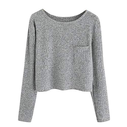 Beikoard Damen Solides Casual Pullover Sweatshirt Mode Langarm O-Ausschnitt Taschenbluse Hoodie