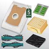 Sparset passend für Vorwerk Tiger 260 - 5 Filtertüten, Aktivfiltersystem und Ersatzbürsten für EB360