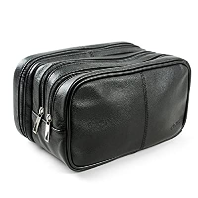Lavievert Genuine Leather Toiletry Bag Grooming Shaving Accessory Dopp Kit Portable Travel Organizer with Three-layered Storage Sections & Handle Strap by Lavievert - low-cost UK light shop.