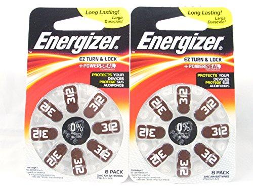 16 Energizer Typ 312 / PR41 / AZ312DPA Zink-Luft Batterie, Haltbarkeitsdatum 2018 (2x 8-er Pack)