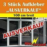 """Aufkleber Schriftzug - 3 STÜCK - """"AUSVERKAUF"""