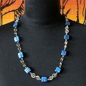 Sautoir indien en métal et perles de verre - bleu