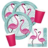 Unique 32-teiliges Party-Set Flamingo - Teller Becher - Magenta - Servietten für 8 Personen