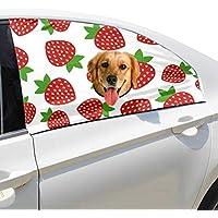 Zemivs Fresa Fruta Moda Plegable Perro de Seguridad para Mascotas Coche Impreso Ventana Valla Cortina Barreras