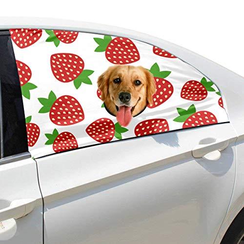 Zemivs Strawberry Fruit Fashion Faltbarer Hund Sicherheit Auto Gedruckt Fenster Zaun Vorhang Barrieren Protector Für Baby Kind Einstellbar Flexible Sonnenschutzabdeckung Universal Fit Für SUV