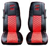 Set di 2 coprisedili per camion, di alta qualità, protettivi, di colore nero e rosso, in ecopelle al 100%, decorativi