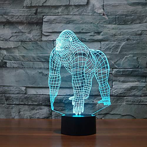 7 Farben Ändern von 3D-Orang-Utans Lampara NightLight LED Tischlampe Schimpanse Schlaflampe