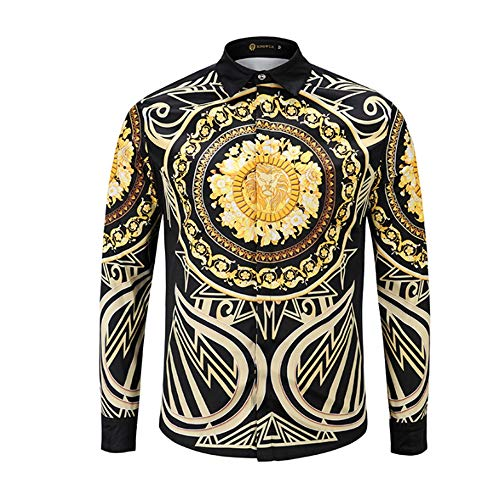 Männer Casual Stand Collar Long Sleeve Shirts Golden 3D Persönlichkeit Lion Head Printing Men ' S Long-Sleeved Shirt,L -