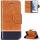 """FNBK iPhone 6 Hülle Leder,iPhone 6S Handyhülle Orange,Tasche Krokodil Ledertasche Luxus Slim PU Leder Wallet Flip Case Klapphülle Ständer Kartenschlitz Silikon für iPhone 6/iPhone 6S 4.7"""""""