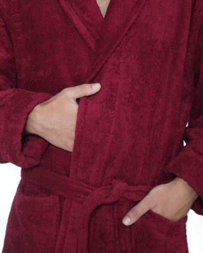 Bademantel mit Kapuze Robe'n Hood für Damen und Herren, 100% Baumwolle, mittellang, Bordeaux