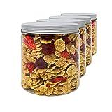 Pack 4 Botes de Polietileno Alimentario, 0,95 L (12x10cm), Tarros con Tapa de Aluminio Enroscable. Reciclable, 100 % Libre de BPA