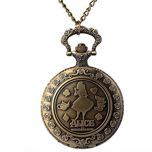 Halskette aus Metall nickelfrei Alice im Wunderland Disney Alice im Wunderland Grinsekatze Herzkönigin verrückter Hutmacher Cartoon Anime ()