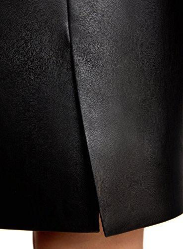 oodji Ultra Damen Rock aus Kunstleder mit Reißverschluss Schwarz (2900N)