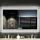Espejo De BañO_con Reloj Led Horizontal De 35 X 28 Pulgadas con FuncióN Antiniebla Y Bluetooth,Espejo De Pared Moderno con Atenuador Y Luces,Espejos De BañO Sin Marco