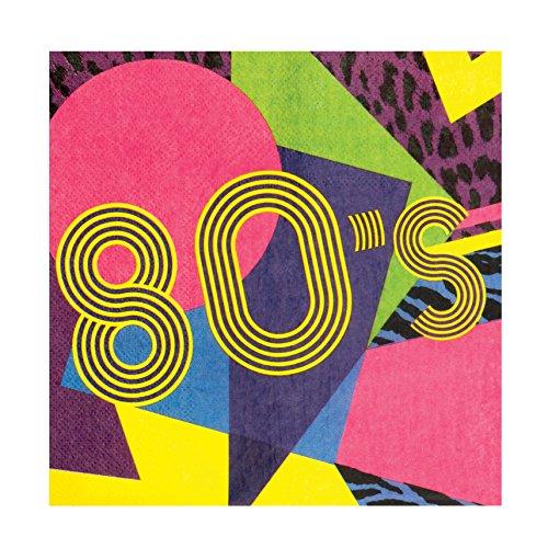 et 12Servietten Jahre '80, Mehrfarbig (80er Jahre Party-thema)
